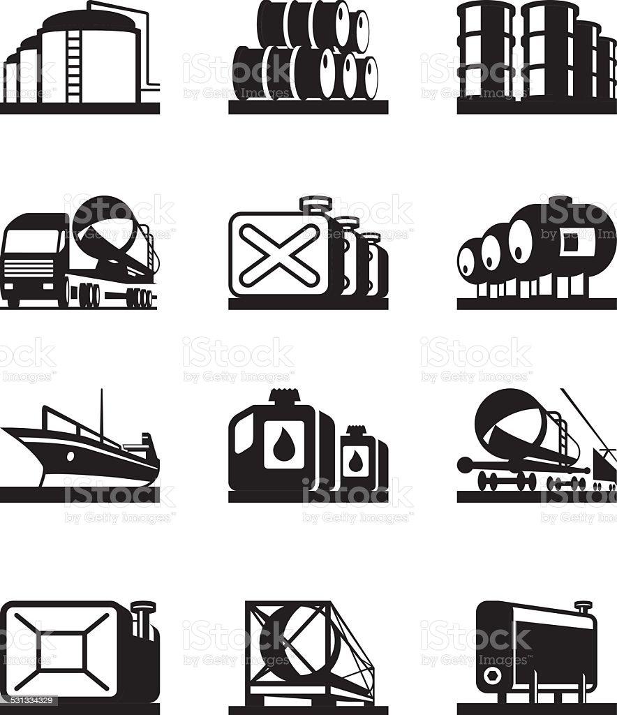 Oil tank terminals vector art illustration