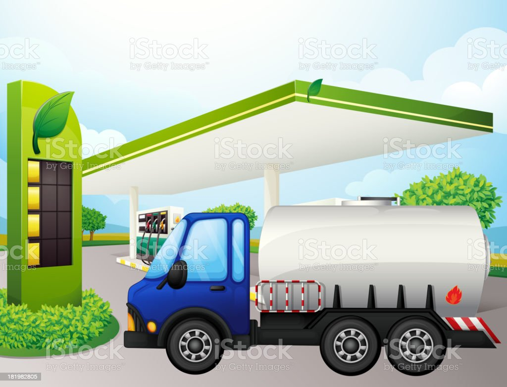 oil tanker in front of a gasoline station royalty-free stock vector art