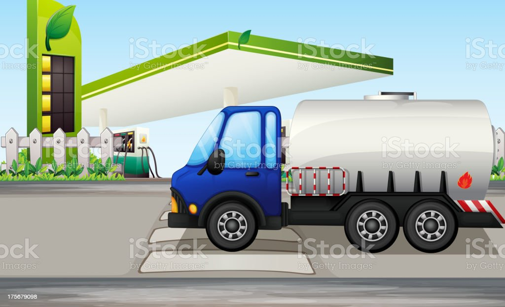 Oil tanker near a gasoline station royalty-free stock vector art