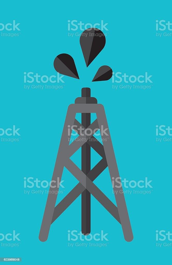 Oil Tower Flat vector art illustration