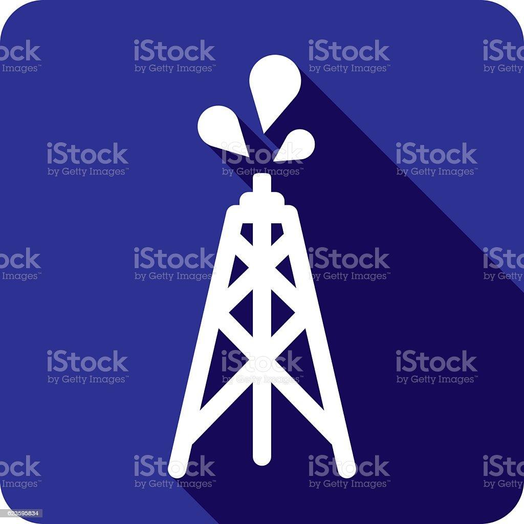 Oil Tower Icon Silhouette vector art illustration