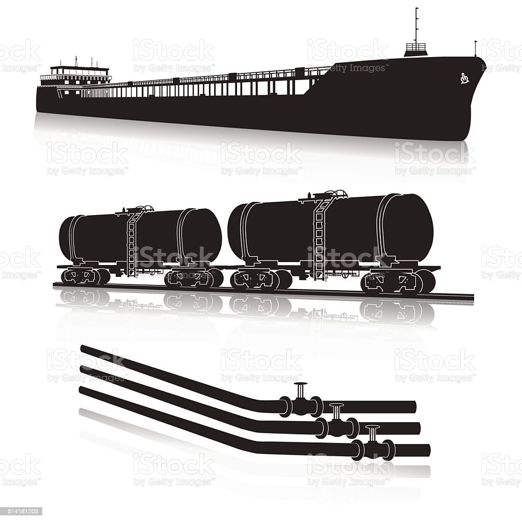 oil transportation: marine tanker, rail tanker, pipelines vector art illustration