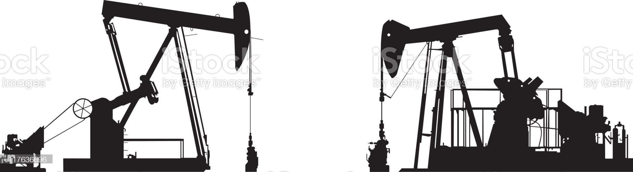 Oil Well Pump Drawings royalty-free stock vector art