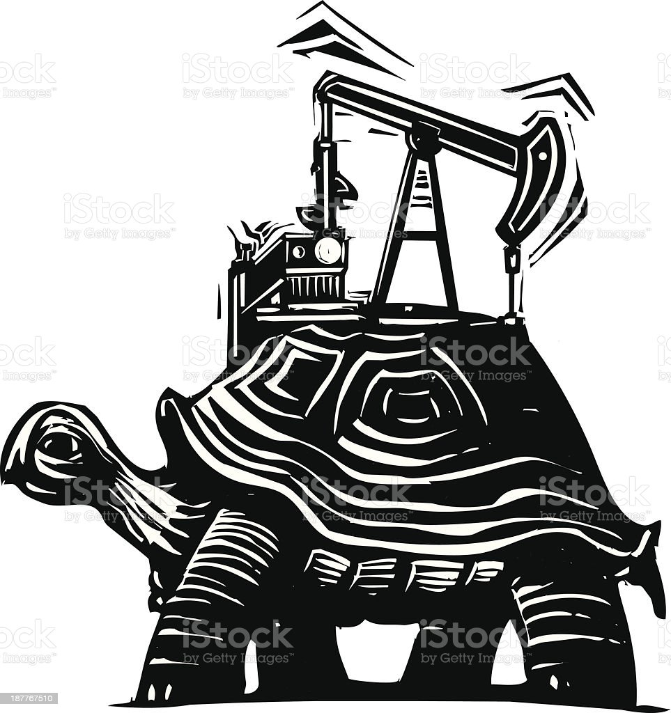 Oil Well Turtle royalty-free stock vector art