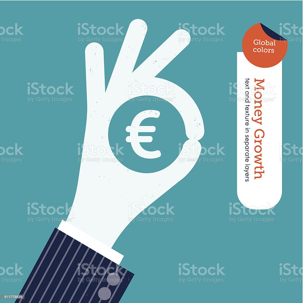 Ok hand with euro symbol vector art illustration