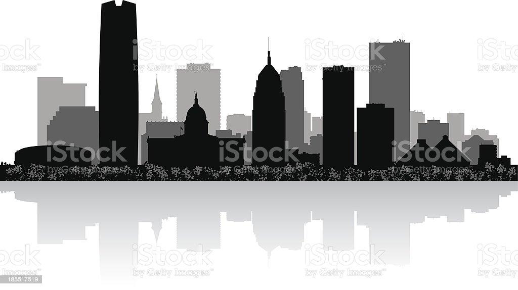 Oklahoma city skyline silhouette vector art illustration