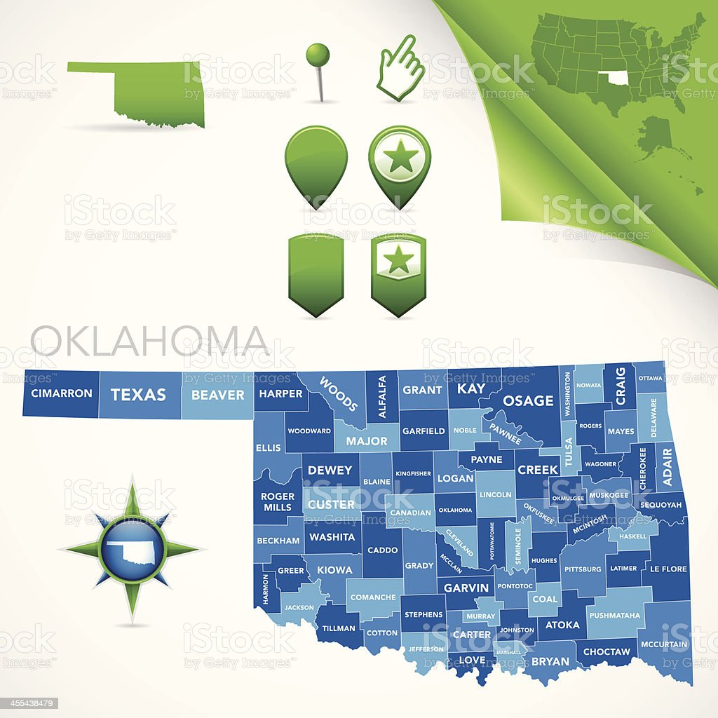 Oklahoma County Map vector art illustration