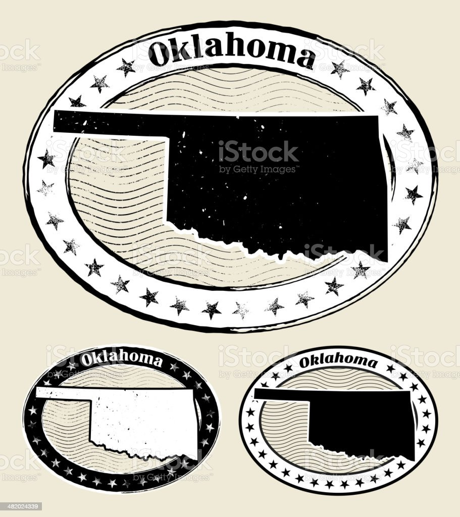 Oklahoma Grunge Map Black & White Stamp Collection royalty-free stock vector art