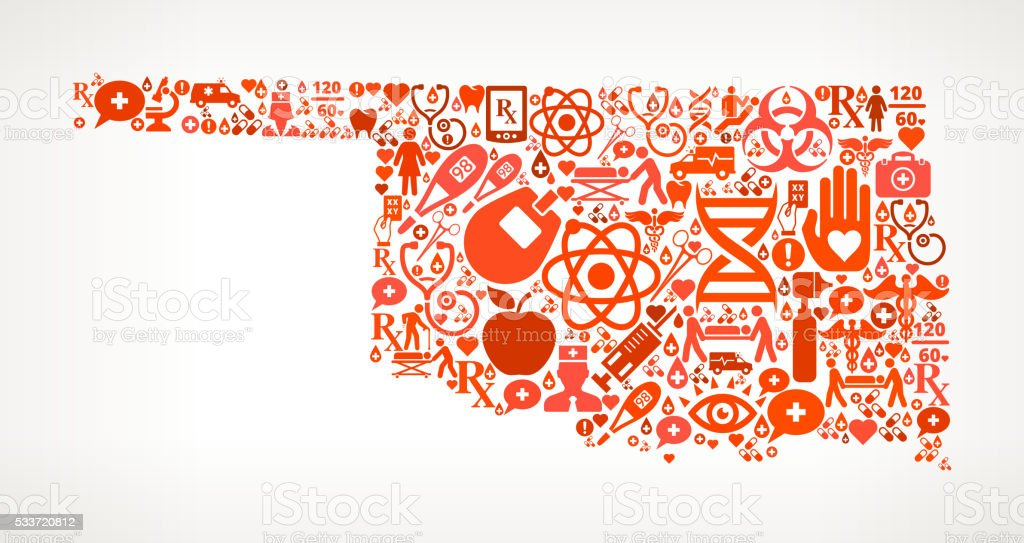 Oklahoma Healthcare and Medical Red Icon Pattern vector art illustration