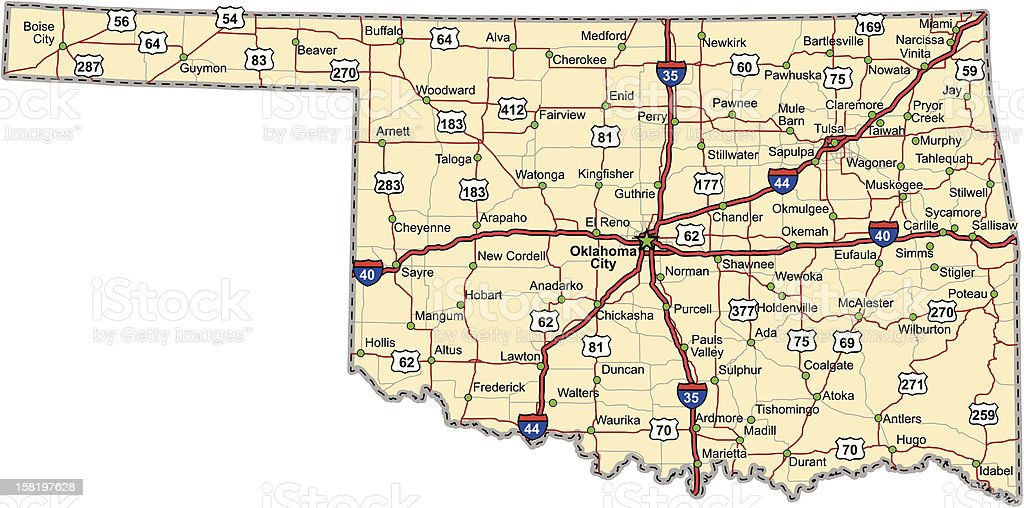 Oklahoma Highway Map (vector) vector art illustration