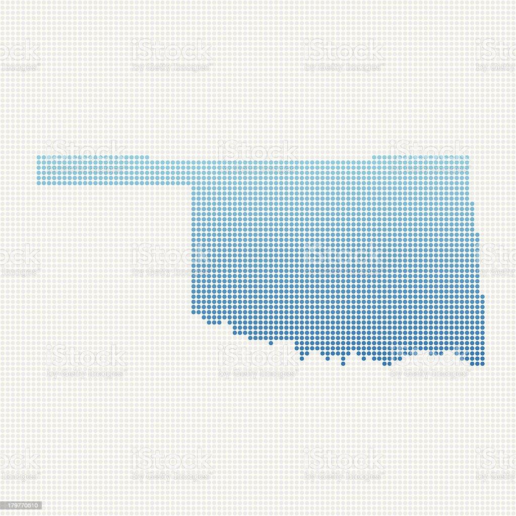 Oklahoma Map Blue Dot Pattern royalty-free stock vector art