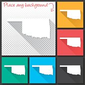 Oklahoma Map for design, Long Shadow, Flat Design