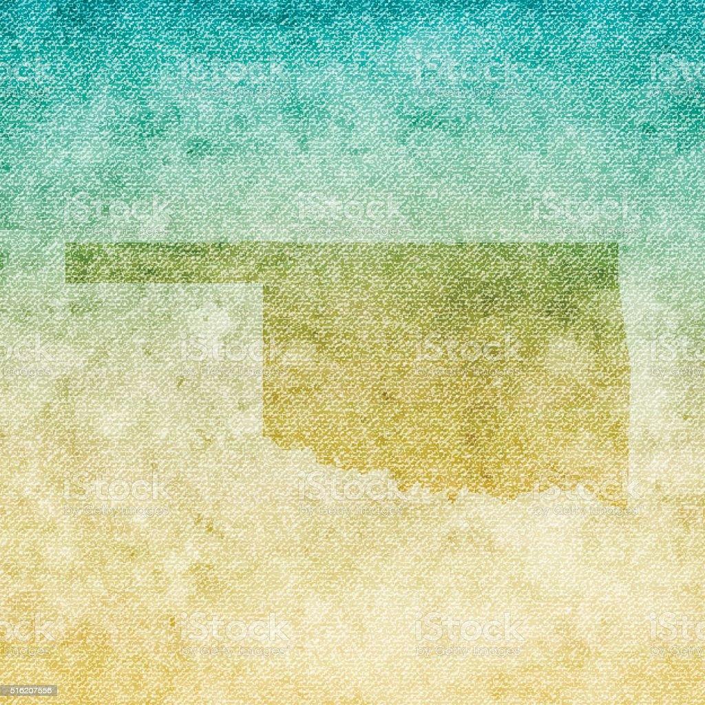 Oklahoma Map on grunge Canvas Background vector art illustration