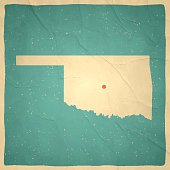 Oklahoma Map on old paper - vintage texture