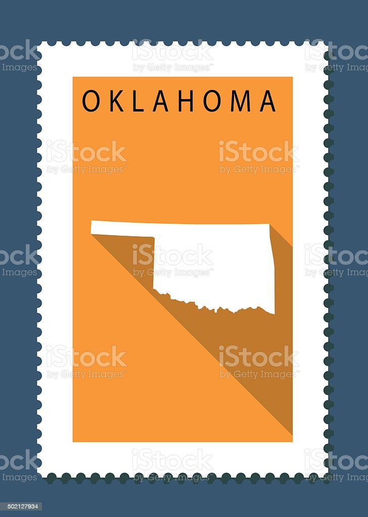 Oklahoma Map on Orange Background, Long Shadow, Flat Design,stamp vector art illustration