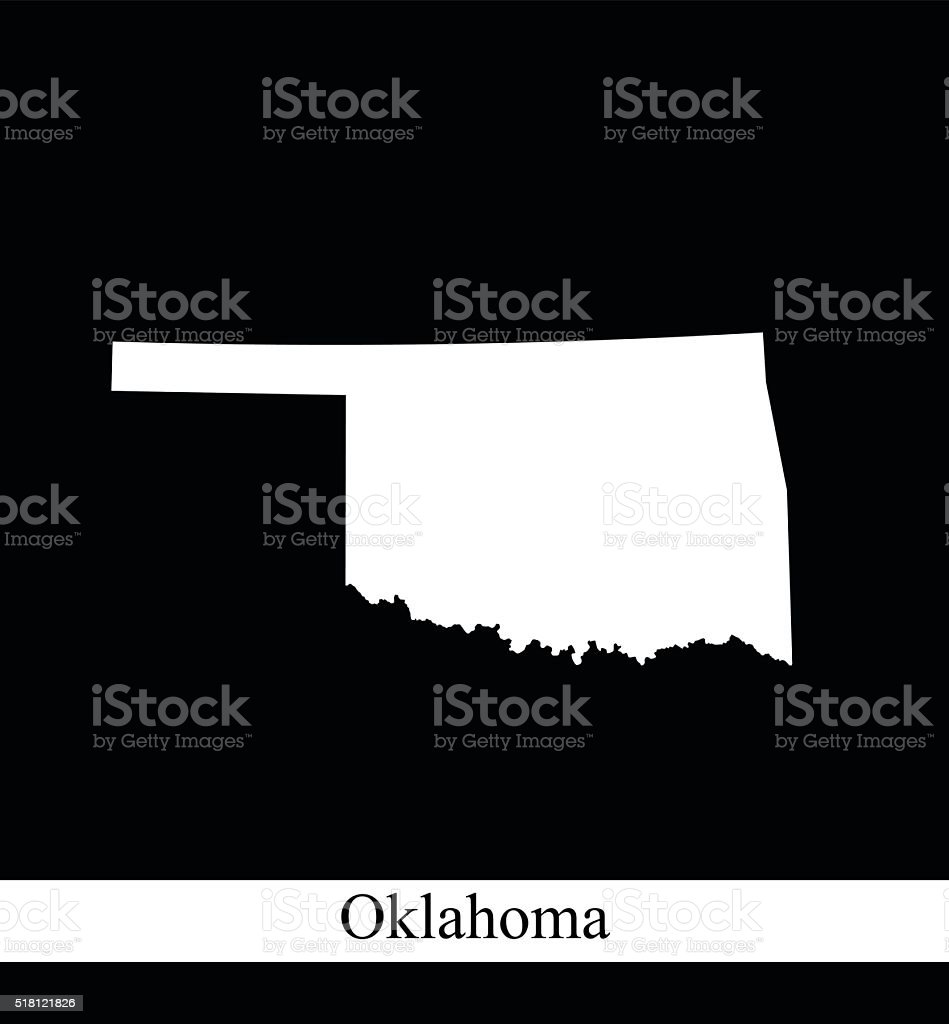 Oklahoma map outline vector illustration in black and white background vector art illustration