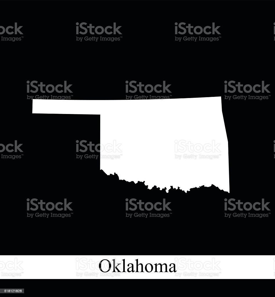 Oklahoma map outline vector illustration in black and white background vector art illustration