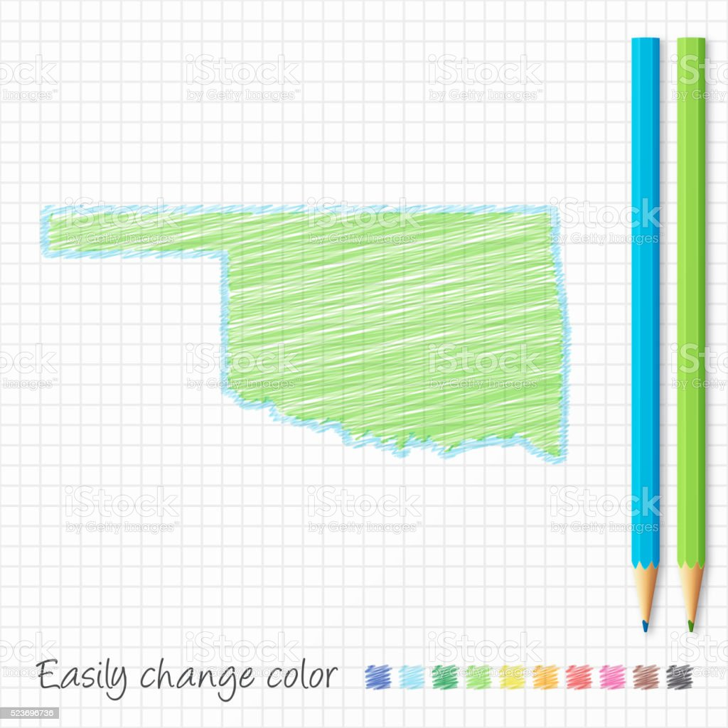 Oklahoma map sketch with color pencils, on grid paper vector art illustration