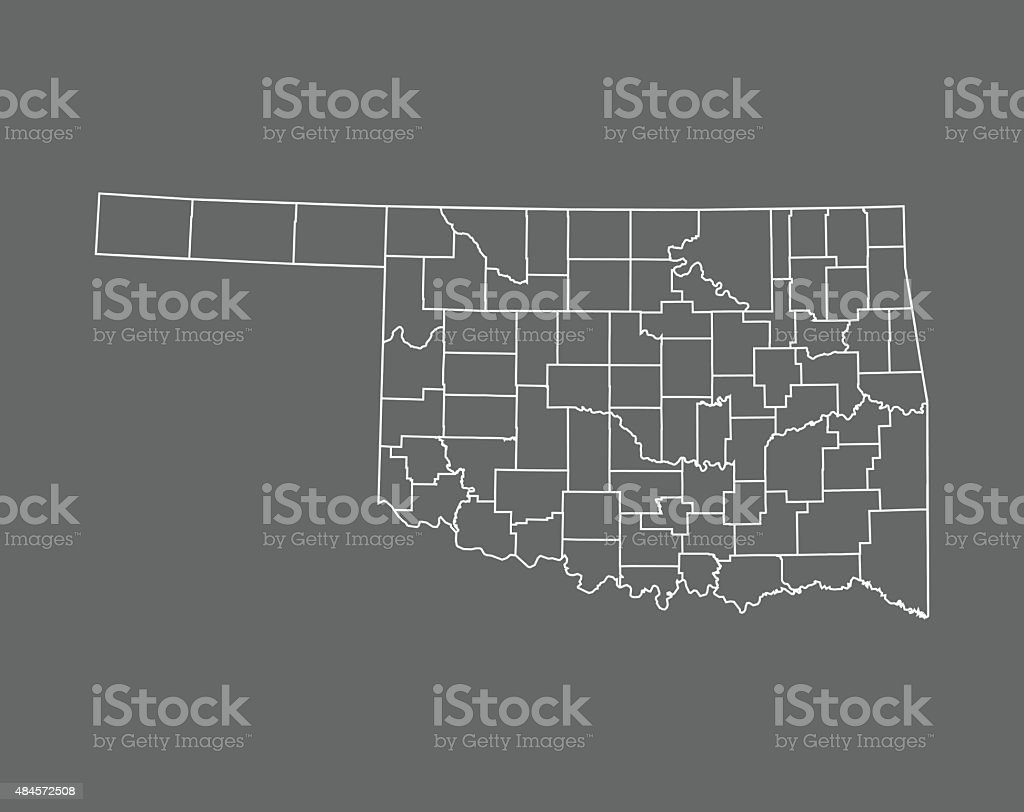 Oklahoma Map vector art illustration