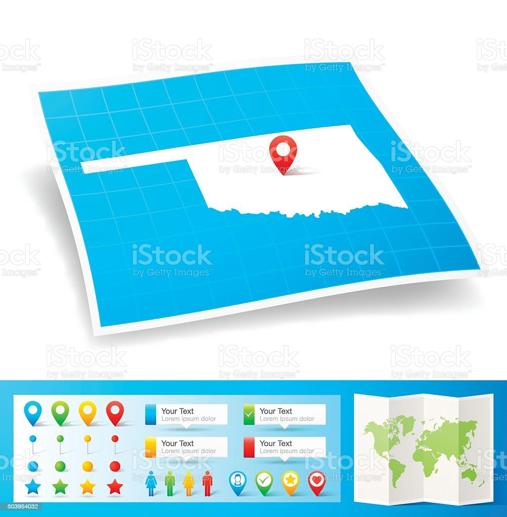 Oklahoma Map with location pins isolated on white Background vector art illustration