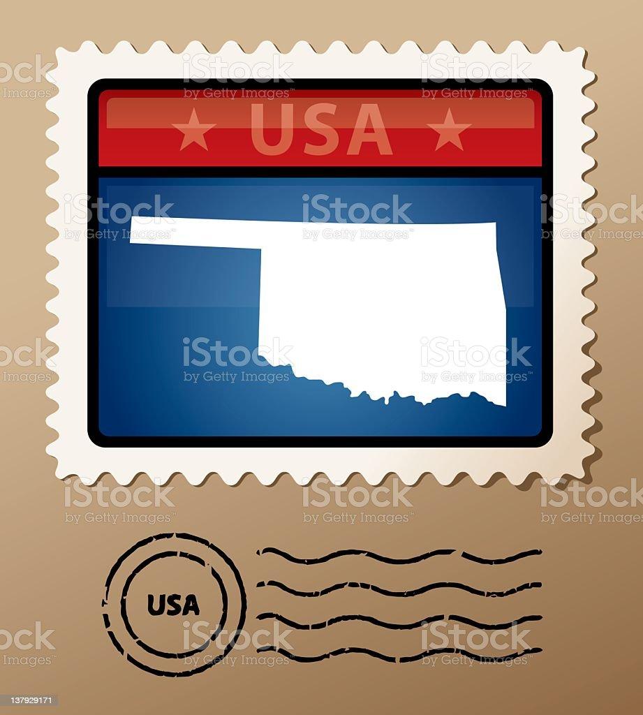 USA Oklahoma postage stamp royalty-free stock vector art