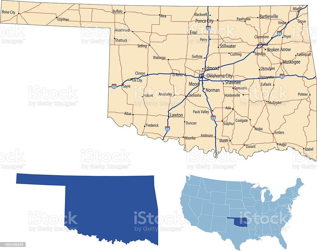 Oklahoma road map royalty-free stock vector art