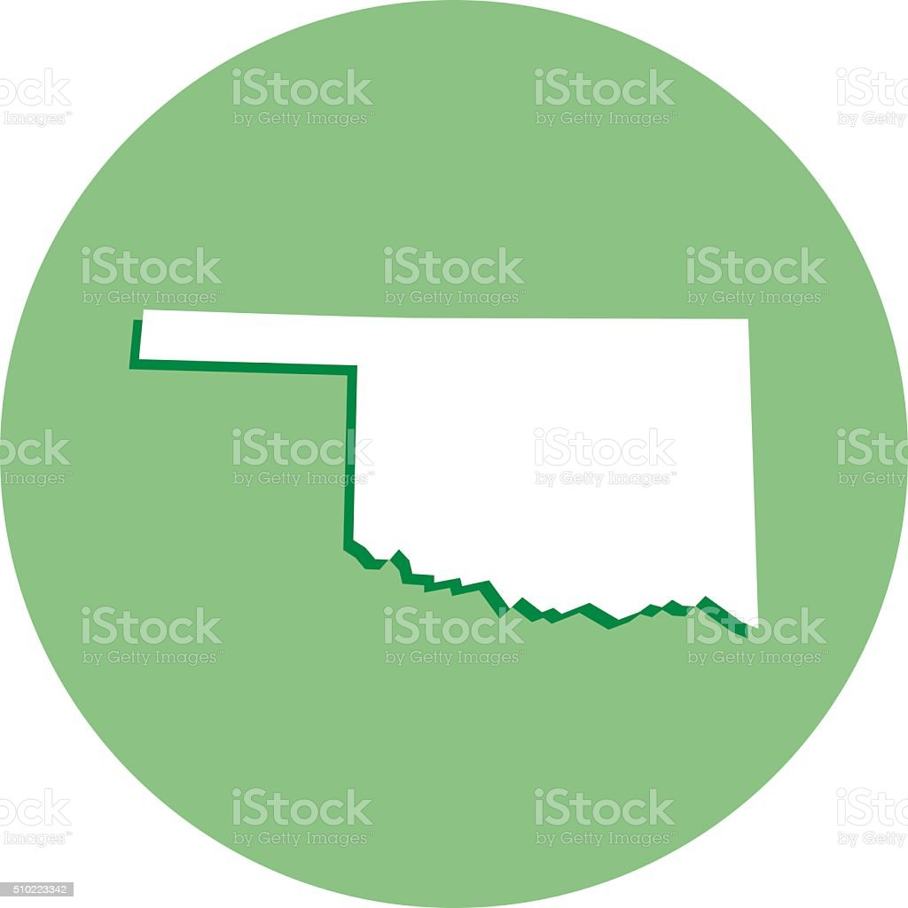 Oklahoma Round Map Icon vector art illustration