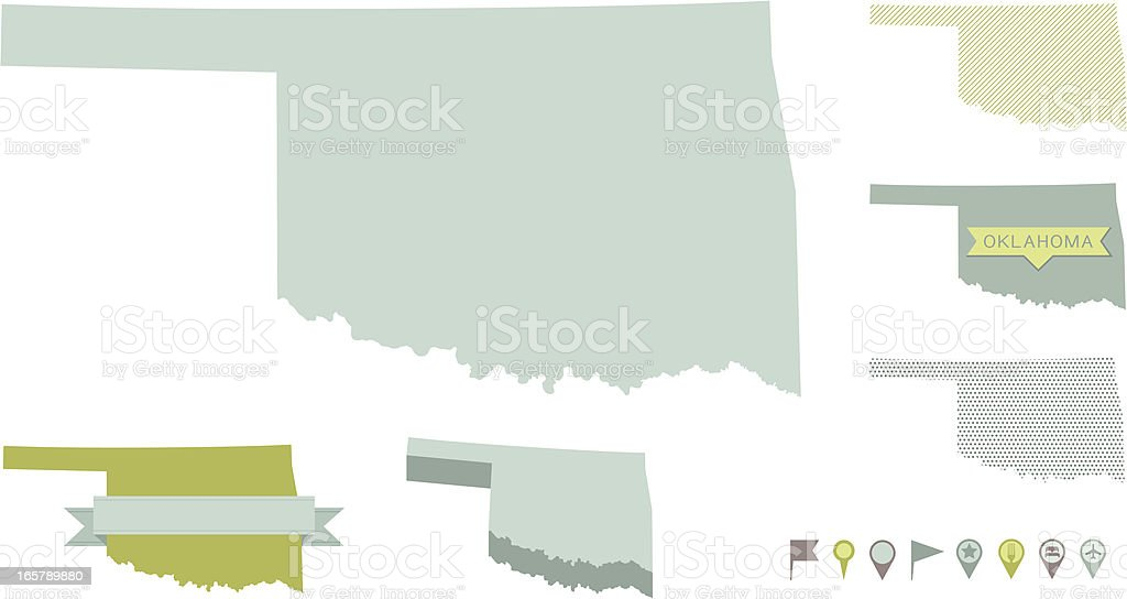 Oklahoma State Maps vector art illustration
