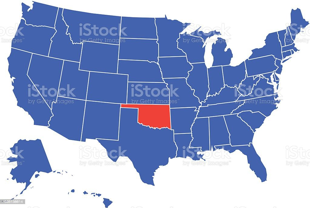 Oklahoma State Selected in USA vector art illustration