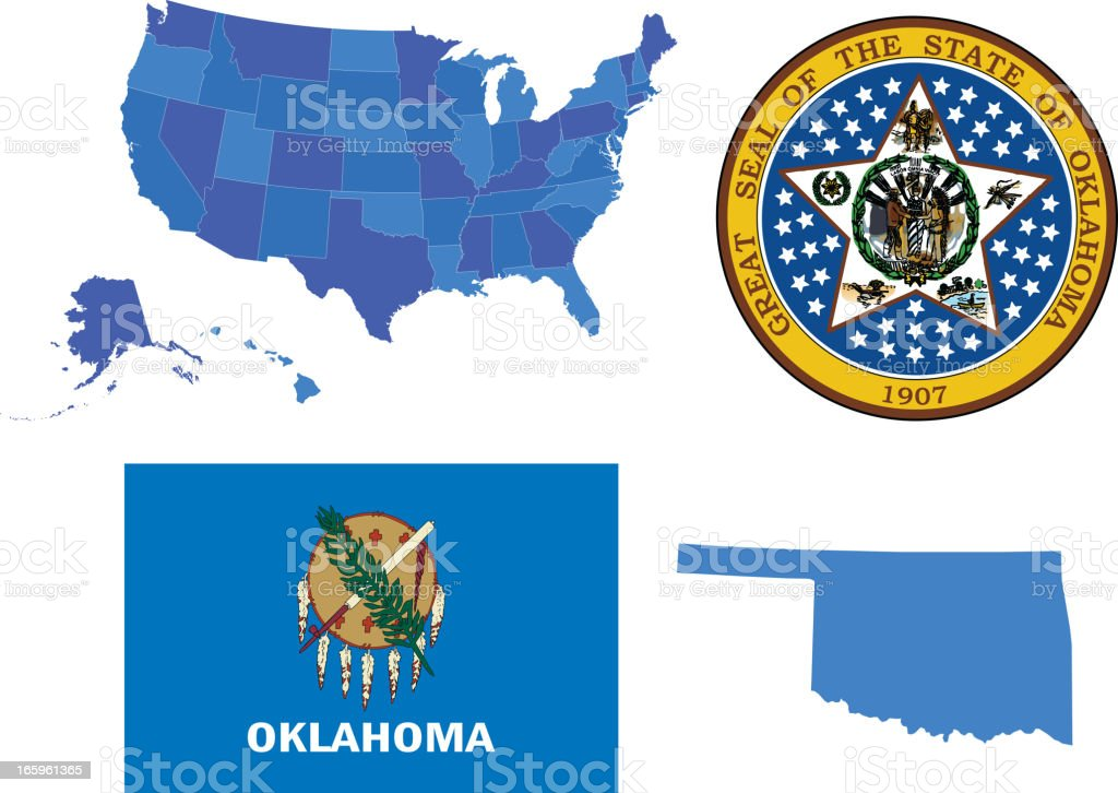 Oklahoma state set vector art illustration