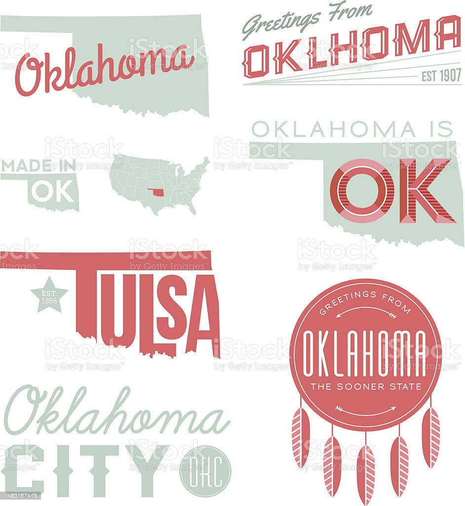 Oklahoma Typography vector art illustration