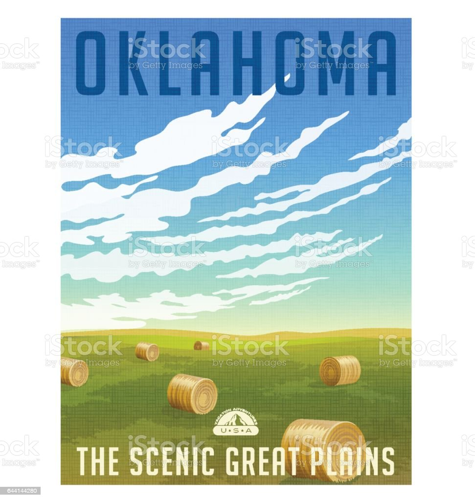 Oklahoma, United States retro travel poster or luggage sticker. Scenic field with round hay bales vector illustration vector art illustration