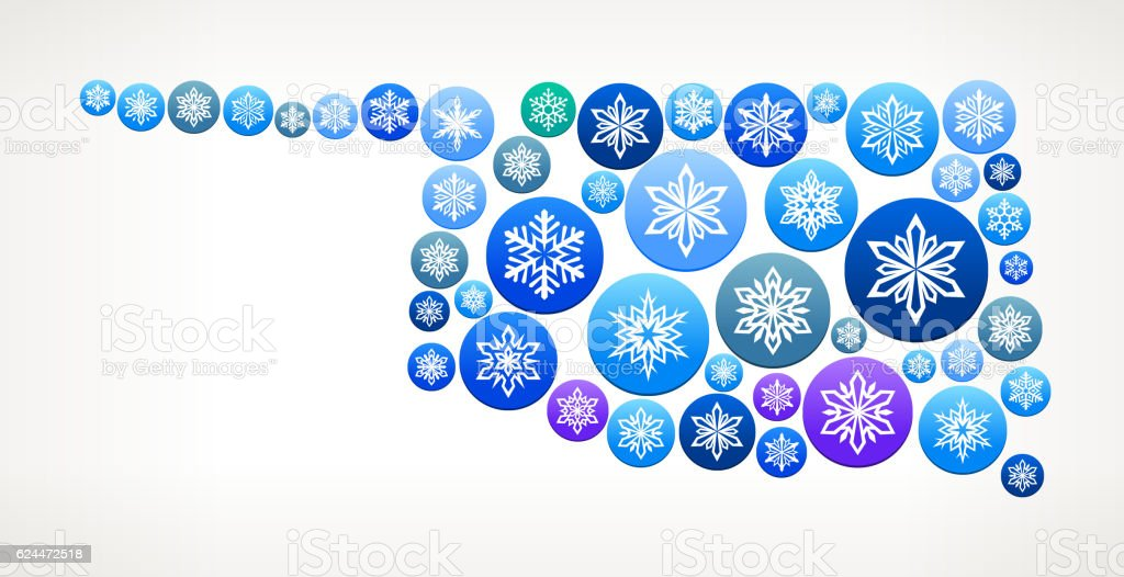 Oklahoma Winter Seasonal Snowflake Graphic Pattern. vector art illustration