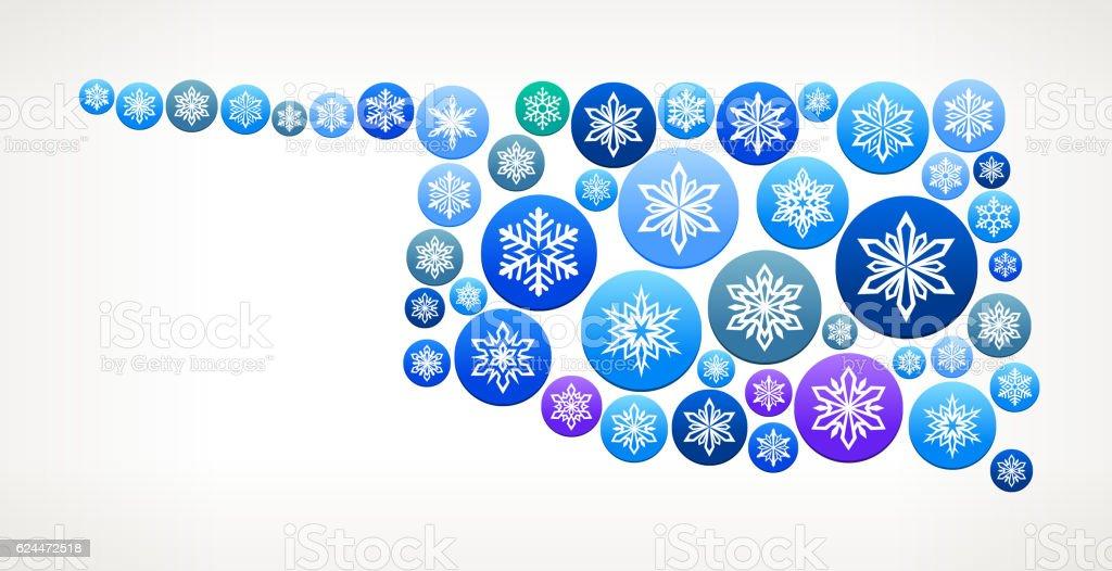 Oklahoma Winter Seasonal Snowflake Graphic Pattern. vector art illustration