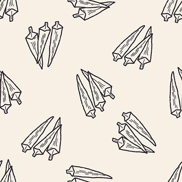 okra doodle seamless pattern background vector art illustration