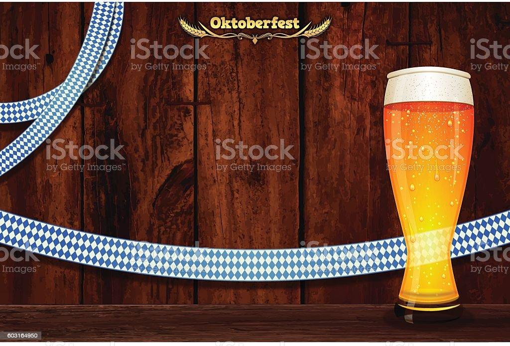 Oktoberfest background [Bavarian flag & board & Beer] vector art illustration