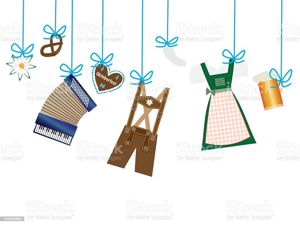oktoberfest background, dirndl and lederhosen icons hanging on blue leash vector art illustration