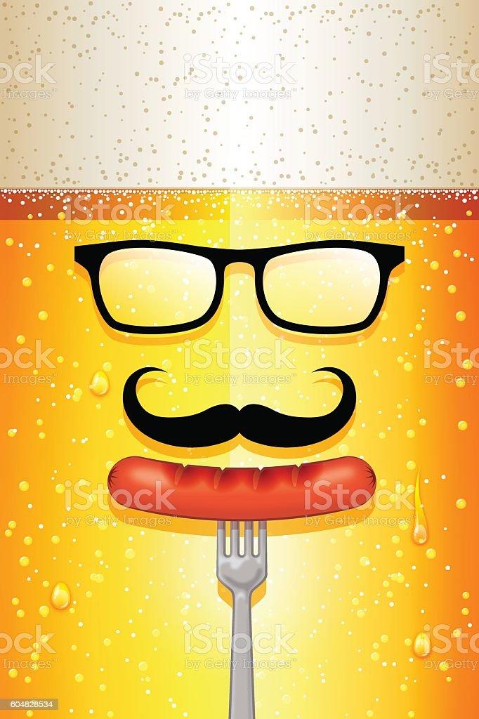 Oktoberfest background [Hipster Beer face] vector art illustration