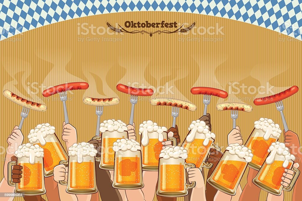 Oktoberfest background [Men enjoy the festival] vector art illustration