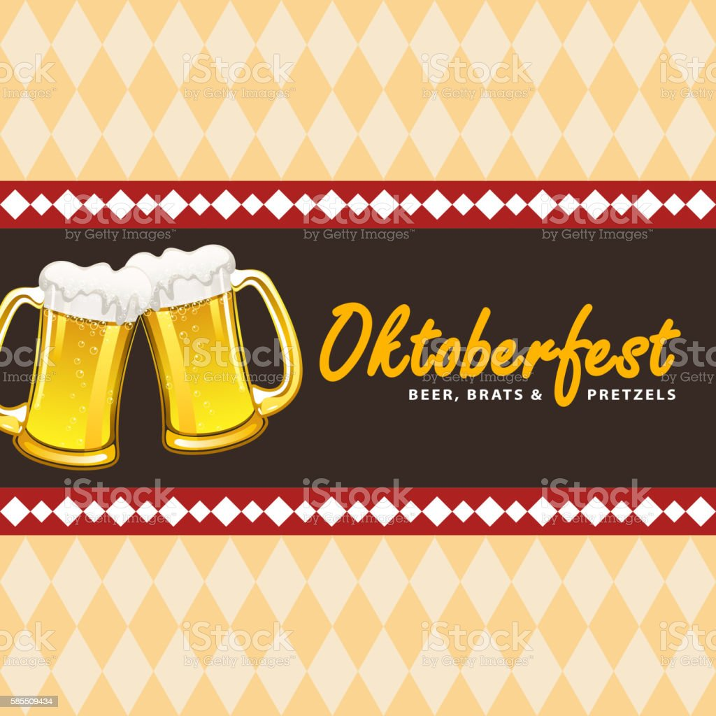 Oktoberfest Background with Beer vector art illustration