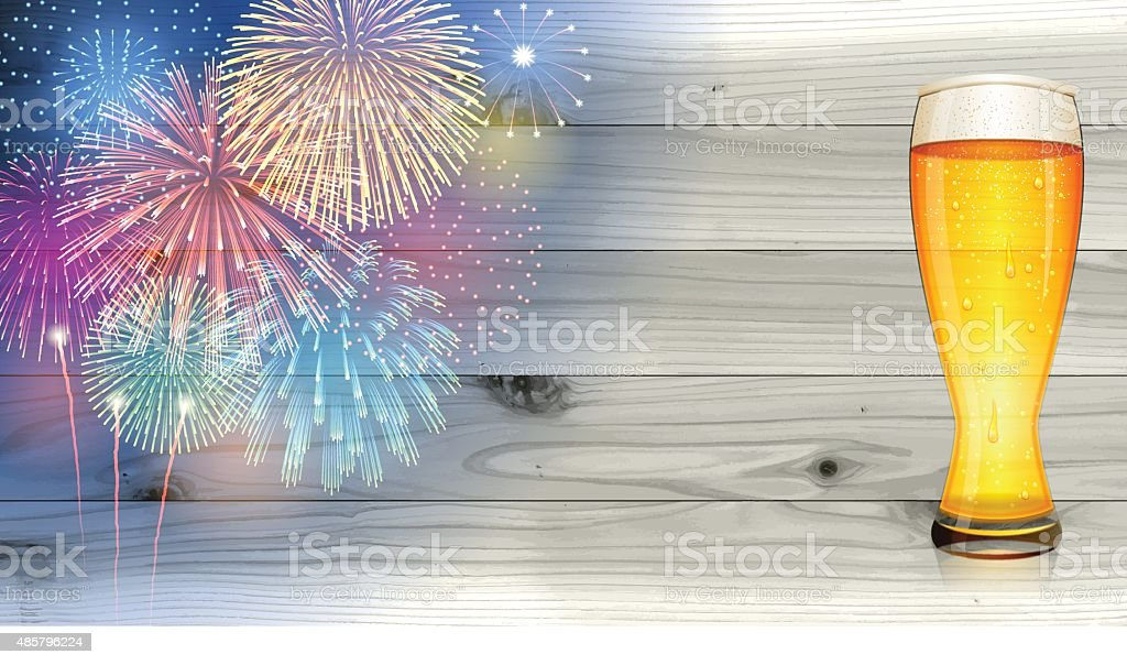 Oktoberfest background[Fireworks and board and Beer] vector art illustration