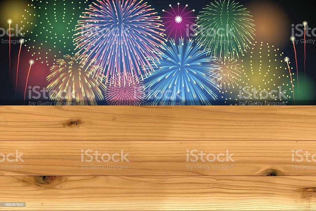 Oktoberfest background[Fireworks and board] vector art illustration