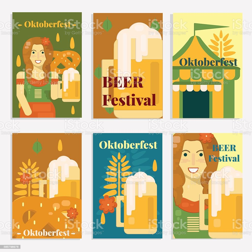 Oktoberfest banners and cards in flat style vector art illustration
