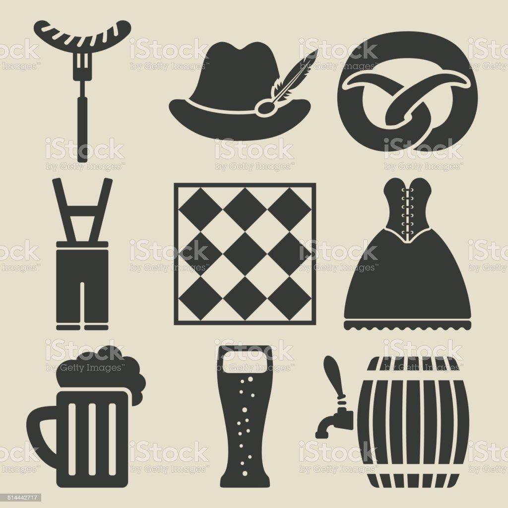 Oktoberfest beer festival icons set vector art illustration