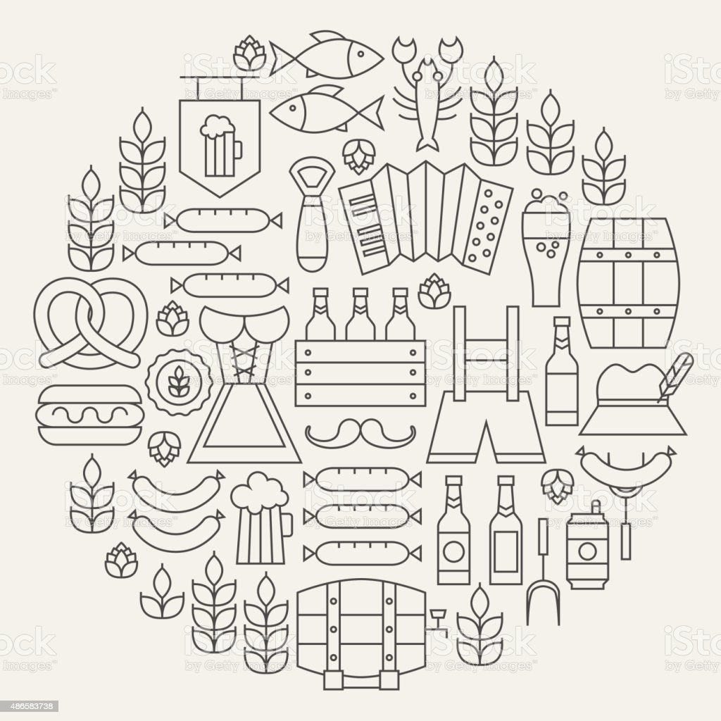 Oktoberfest Beer Holiday Line Icons Set Circular Shaped vector art illustration