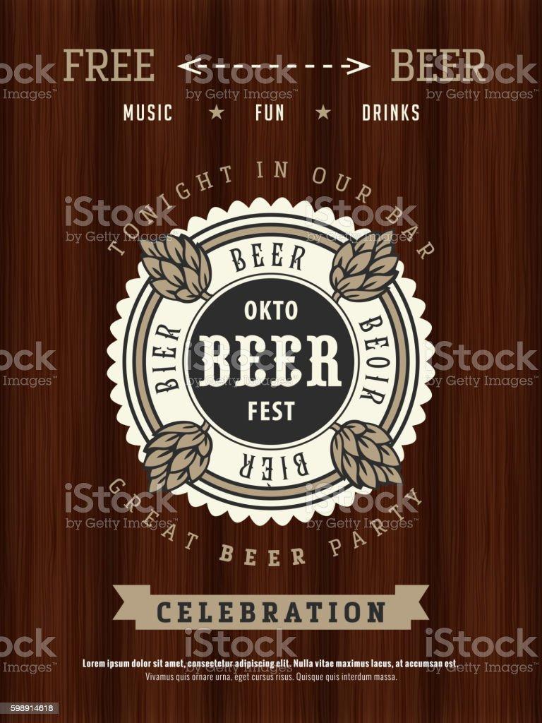 Oktoberfest beer party poster vector art illustration