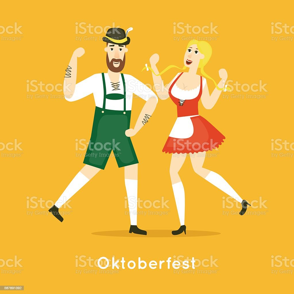 Oktoberfest characters. Bavarian man and woman dancing together. vector art illustration