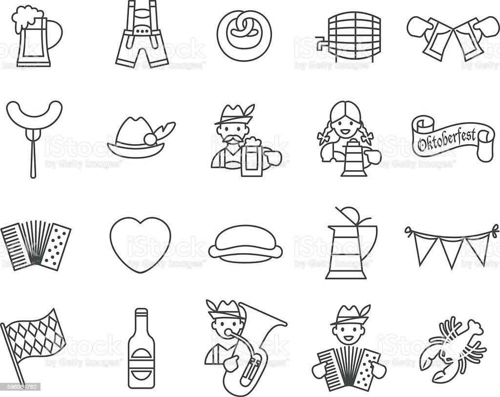 Oktoberfest festival icons set. vector art illustration