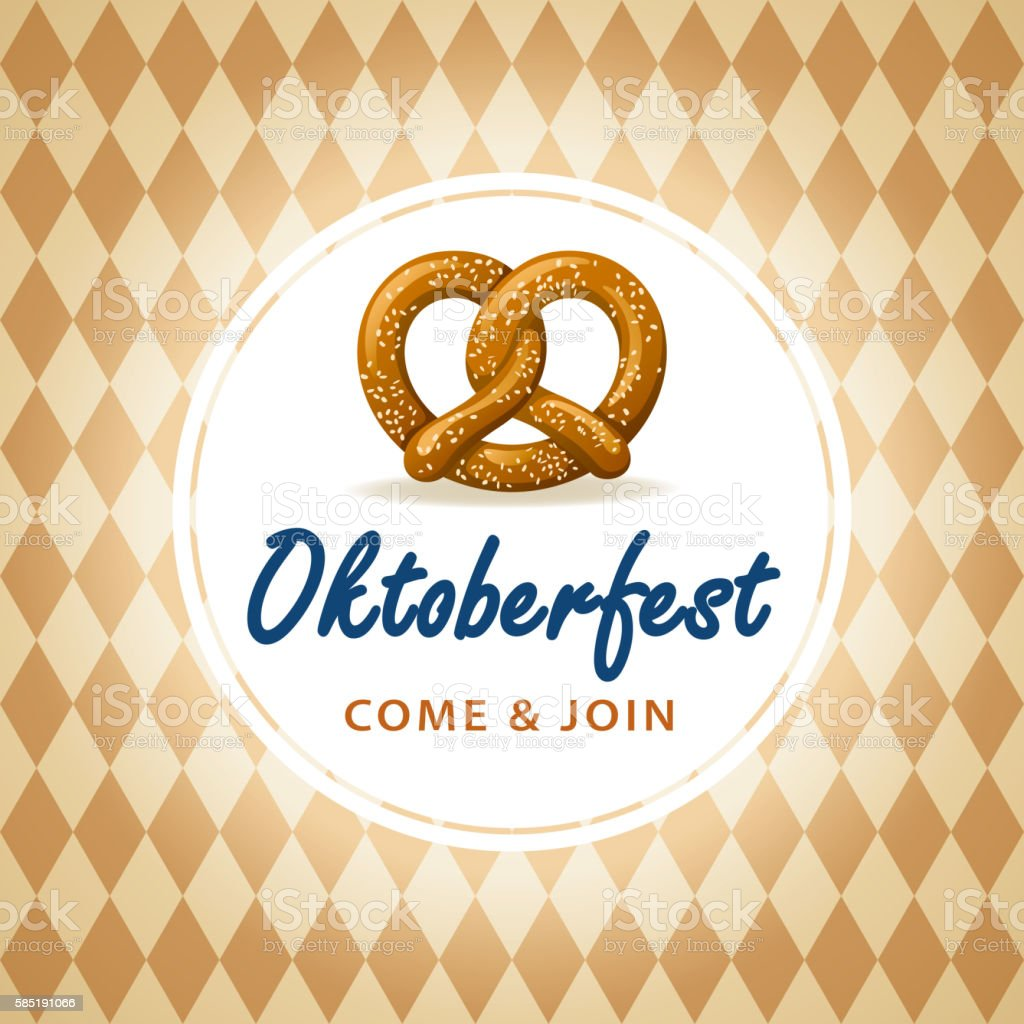 Oktoberfest Frame with Pretzel vector art illustration