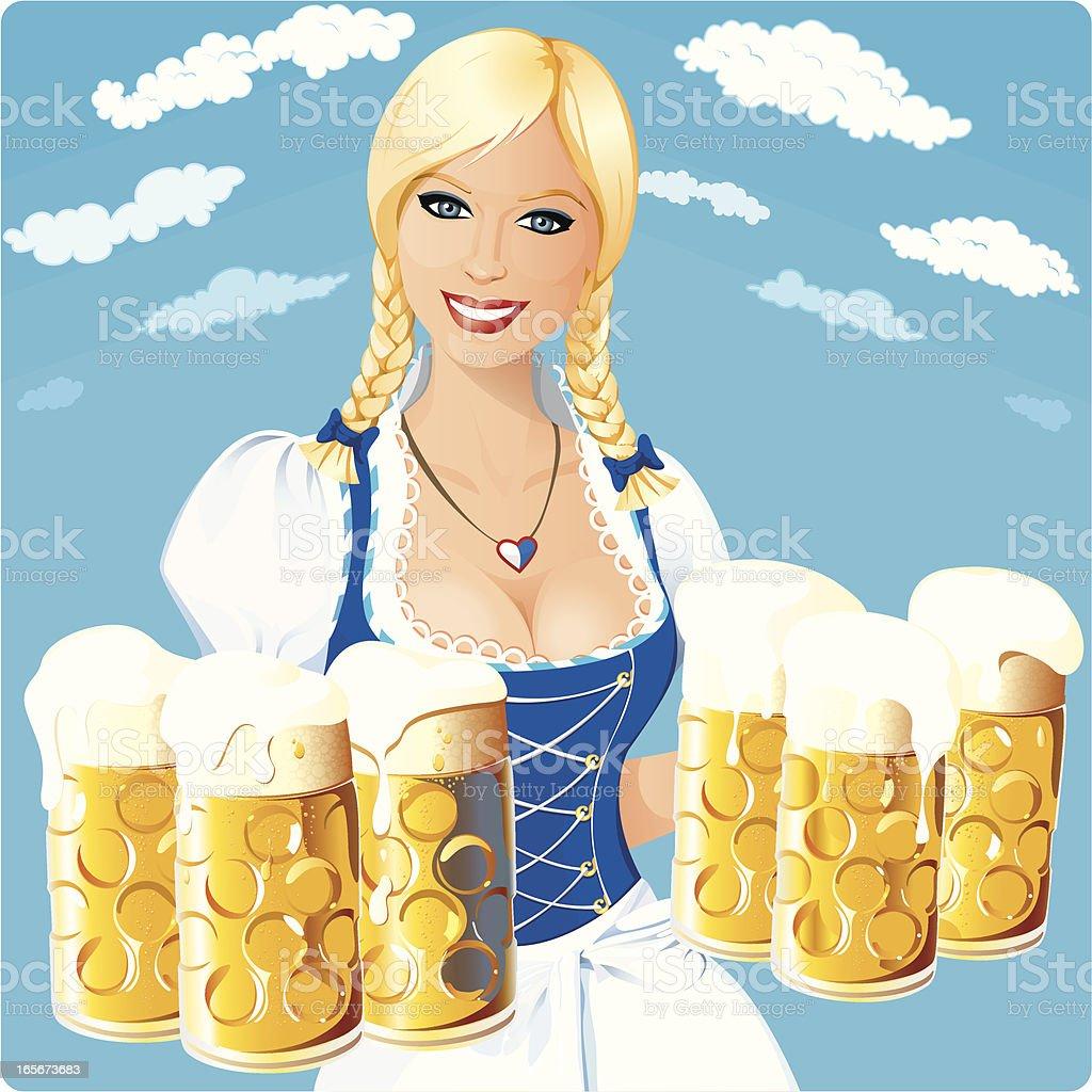 Oktoberfest girl under bavarian sky vector art illustration